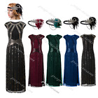 Sequins Beads 1920s Flapper Gatsby Wedding Party Long Formal Evening Prom Dress
