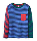 *BNWT* Joules Boys Oscar Red Blue Green Striped Long Sleeved Tee Top T-Shirt