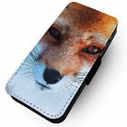 Red Fox Face -Faux Leather Flip Phone Cover Case Nature Design Handsome #1