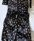 LADIES BLACK WHITE FAUX SILK POLKA DOT PYJAMAS BOTTOMS FULL LENGTH BNWOT