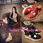 New Punk Patent Leather Women's Star Lace Up Platform Wedge Mid Heels Shoes Slim