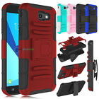 Hybrid Rugged Rubber Holster Hard Cover Case for Samsung Galaxy J7 V /J7 Sky Pro