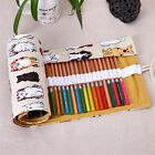 Hot Lovely Dog 36/48/72 Hole Canvas Wrap Roll Up Pencil Case Pen Bag Holder