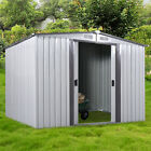 DIY Backyard Metal Garden Shed Storage Kit Building Doors Steel Outdoor 3 Size cheap
