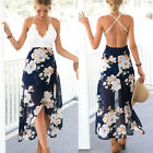 Women's Deep V Spaghetti Strap Floral Dress Cross Back Asymmetrical Beach Dress