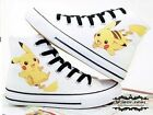 Anime Hand-Painted Fans Canvas Shoes Pocket Monster Pikachu Lace-Up Sneaker