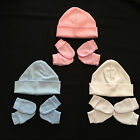 NEW BORN BABY BOYS & GIRLS, HAT & SCRATCH MITTS SET, 100% COTTON, NEW BABY GIFT