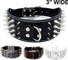"""3"""" WIDE RAZOR SHARP Spiked Studded Leather Dog Pet Collar 4-ROWS 19-22"""" 21-24"""""""