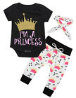 Newborn Baby Girls Tops Romper Long Pants Hairband Outfits Set Clothes 3PCS New