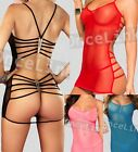 Sexy Lingerie Sheer Mesh Chemise Gowns Dress Babydoll Open Strappy Back+ String