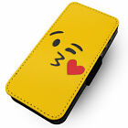 Emoji Blowing Kiss Face - Printed Faux Leather Flip Phone Cover Case Heart #1