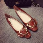 Women's Fashion Square Toe Buckles Strap Patent Leather Flat Heel Work Shoes 4-9