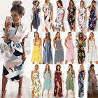 UK Boho Womens Holiday Off Shoulder Floral Maxi Ladies Beach Party Dress 6-20