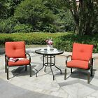 3 PC Patio Bistro Set Outdoor Cafe Furniture Seat Tempred Glass Table 2 Chairs