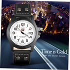 Fashion Men's Military Sport Analog Quartz Leather Band Wristwatch ID