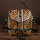 Women Genuine Cow Leather Backpack Shoulder Messenger Bag Embossed Handbag 3USE