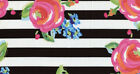 Black & White Stripe Watercolor Rose B&W Striped Floral Cotton Fabric a2/1