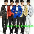 Mens Tuxedo Suit Bling Sequins Gentleman One Button Dance Coat Blazer Jacket Hot