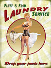 FLUFF AND FOLD LAUNDRY SERVICE - PLAQUE METAL SIGN RETRO VINTAGE SHABBY CHIC 147