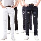 Torn & Faded Style Skinny Slim Jeans Trousers - Grey, White, Navy Blue & Black