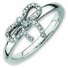 Delicate Diamond Bow Polished Sterling Silver Stackable Ring