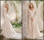 Long Sleeve Lace Mermaid Wedding Dresess Sexy Open Back Bridal Garden Gown HD271