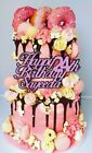 Sparkling Glitter Cake Topper PERSONALISED Varied Size & Colour - Happy Birthday
