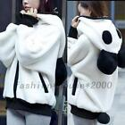 Panda Zip Up Athletic Hoodie Loose Track Outwear Sweats Jacket Sweatshirt Coat