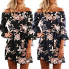 UK Boho Womens Floral Print Off Shoulder Holiday Beach Ladies Casual Paty Dress