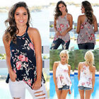 UK Womens Floral Print Loose Halter Sleeveless Ladies Casual Tops T-Shirt Blouse
