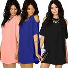 Women OL Chiffon Baggy T-Shirt Blouse Dress Off Shoulder Tops Plus Size AU 6-22