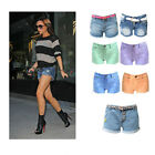 NEW LADIES ACID WASH TIE DYE HIGH WAISTED DENIM HOT PANTS CLEARANCE SHORTS