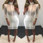 Womens Long Sleeve Summer Mini Dresses Ladies Printed Stretchy Party Fit Bodycon
