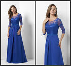 Royal Blue Mother Of The Bride Dress 3/4 Sleeve Chiffon Evening Bridesmais HD287