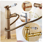 Deck Mounted Basin Sink Faucet Pull Out Spout Single Handle Vanity Sink Mixer
