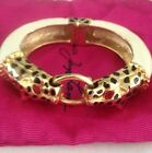 New Kenneth Jay Lane Panther Leopard Crystal bangle cuff