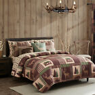 King, Queen, or Twin Quilt Set Rustic Cabin Lodge Deer Bear Coverlet Bedspread image