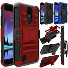 Armor Shockproof Hybrid Rubber Holster Phone Case Cove For LG Phoenix 3 /Fortune