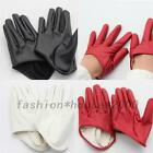 Faux Leather Unisex Five Finger Half Palm Disco Gloves Halloween Costume Mittens