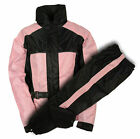 Motorcycle ladies Lightweight waterproof raingear rainsuit blk pink color hudy