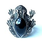(SIZE 7,8,9) FROG RING Black ONYX Stone Marcasite .925 STERLING SILVER