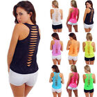UK Plus Size Womens Ripped Back Vest Ladies Casual Summer Tops T-Shirt Blouse