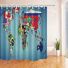 World map National Flag Polyester Fabric Bathroom Shower Curtain Liner Bath Mat