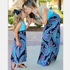 Family Matching Outfits Mother and Daughter Casual Boho Floral Maxi Dress Summer