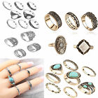 WOW 8PCS/Set Turquoise Vintage Bohemian Water Drop Knuckle Finger Ring For Women