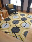 Small Extra Large Modern Ochre Yellow Gold Hexagon Floor Carpet Mat Rugs Cheap