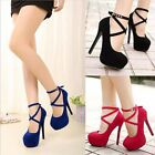 Women Pumps Platform Strappy Buckle Stiletto High Heels Party Wedding Shoes