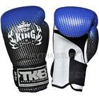 Top King Muay Thai Boxing Gloves Super Star Air Blue Leather Training Fighting