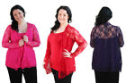 Ladies Plus Size Long Sleeve Floral Lace Waterfall Cardigan Cover Up Top 14-28