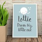 Personalised Kids Dream Big Little One Print A3. Various Colours. Gift.